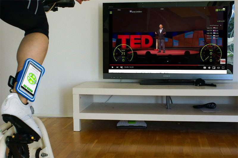 Indoor cycling with interactive video