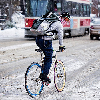 Winter bikers run the streets